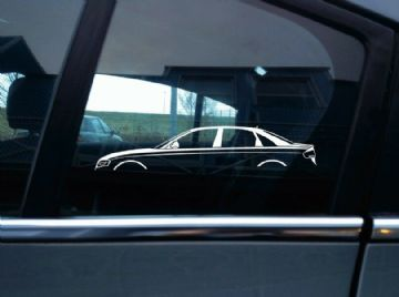 2x car silhouette stickers - for Audi A4 , B8 (2008-2011) 4-door sedan